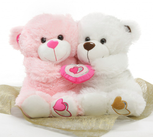 18in White & Pink Love Bandits Big Love Teddy Bear Hug Care Package