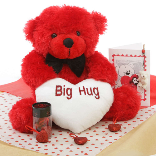 He Loves Me Red Teddy Bear Hug Care Package 18in