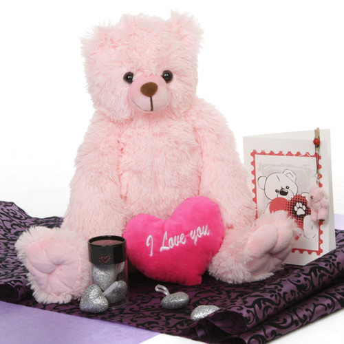Darling Heart Tubs 18in Pink Teddy Bear Package
