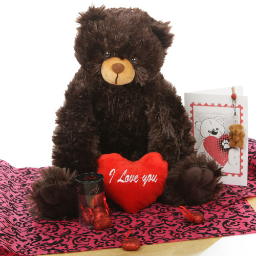 Chocolate Brown Gimme Some Lovin' Bear Hug Care Package 18in Baby Heart Tubs