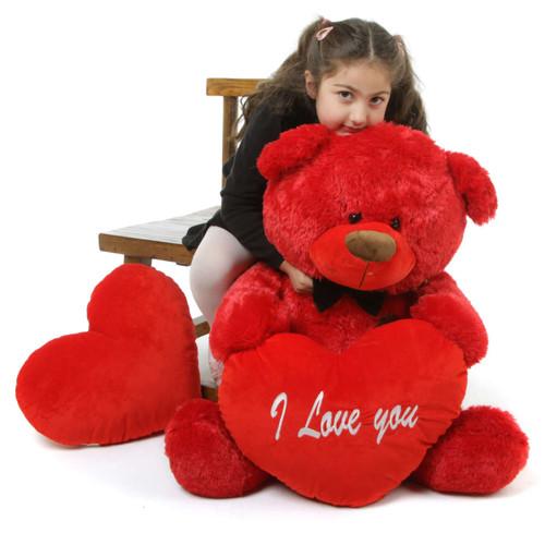 37in Red Randy Shags Teddy Bear Hug Care Package