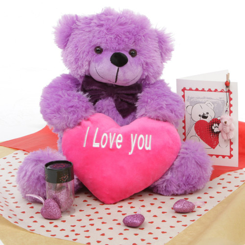True Love Lavender Purple Teddy Bear Hug Care Package 18in