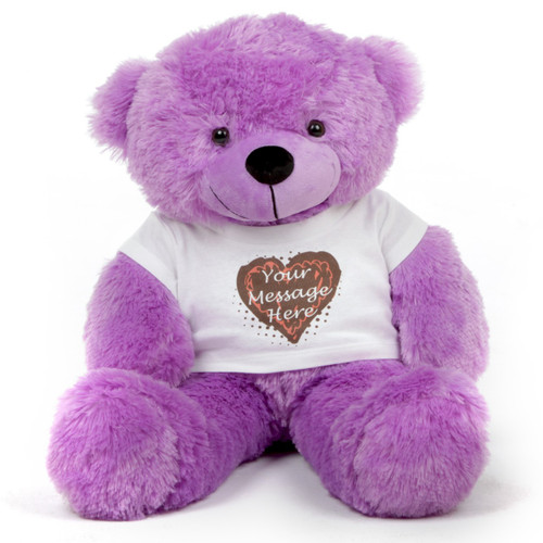 30in Purple DeeDee Cuddles Personalized Teddy Bear with Heart Truffle Shirt