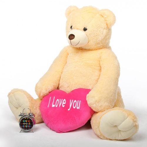 Cream Teddy Bear 52in Jumbo Tiny Heart Tubs I LOVE YOU Hot Pink Heart
