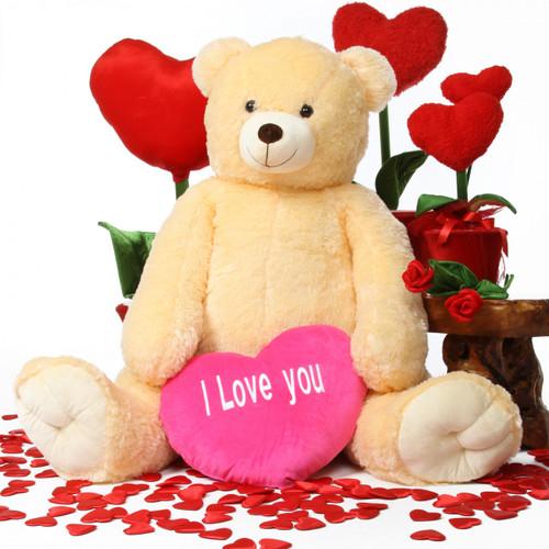Oversized Cream Teddy Bear Jumbo Tiny Tubs with Hot Pink Heart