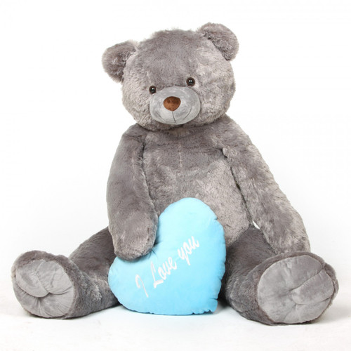52in Jumbo Sugar Heart Tubs I LOVE YOU Blue Heart Silver Grey Teddy Bear