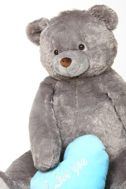Jumbo Sugar Heart Tubs Teddy Bear with I Love You Blue Heart