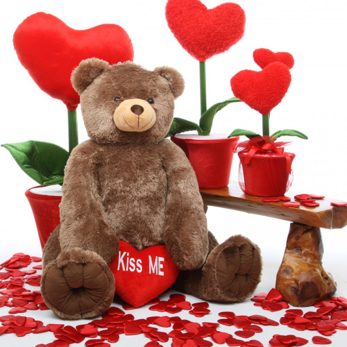 Sweetie Heart Tubs KISS ME Heart Mocha Brown Teddy Bear 48in