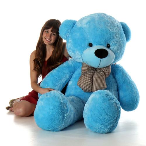 Life Size Blue Teddy Bear Happy Cuddles 60in