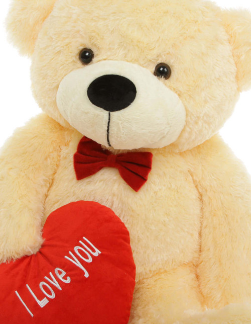 3ft Vanilla Cream Teddy Bear Cozy Cuddles with Red I Love You Heart