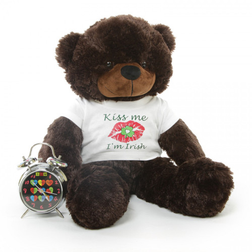 2.5ft Brownie Cuddles Big Teddy Bear with Kiss Me I'm Irish T-shirt