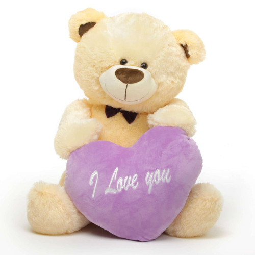 BooBoo L Shags Vanilla Teddy Bear with I Love You Heart 35in