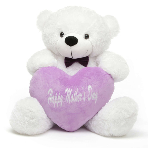 Coco M Cuddles White Teddy Bear with Happy Mothers Day Heart 38in