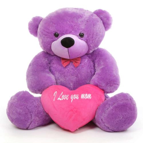 DeeDee M Cuddles Lavender Purple Teddy Bear with I Love You Mom Heart 48in