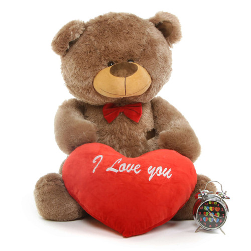 35in Tiny L Shags Mocha Teddy Bear with I Love You Heart