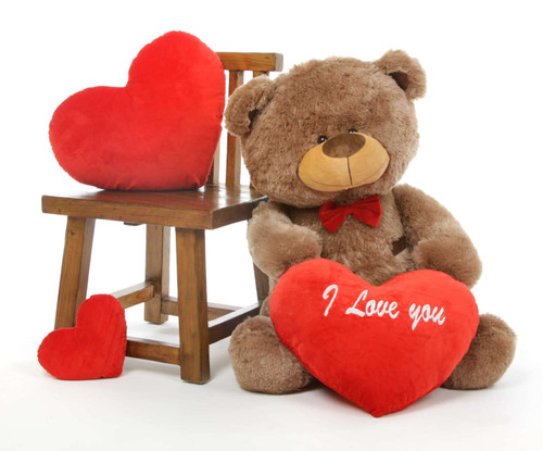 Tiny Shags Mocha Teddy Bear with I Love Your Heart Package