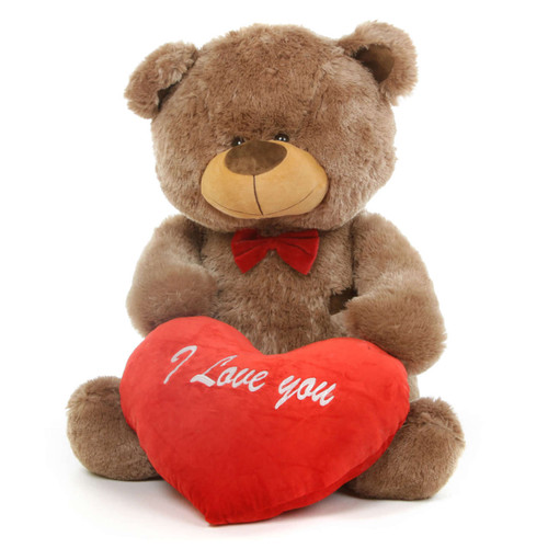 Tiny L Shags Mocha Teddy Bear with I Love You Heart 35in