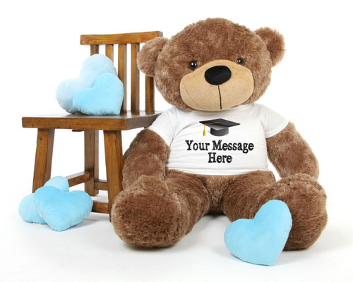 4ft Life Size Mocha Teddy Bear Sunny Cuddles Personalized Graduation Teddy Bear