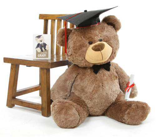 Tiny G Shags Mocha Graduation Teddy Bear with Cap and Diploma 37in