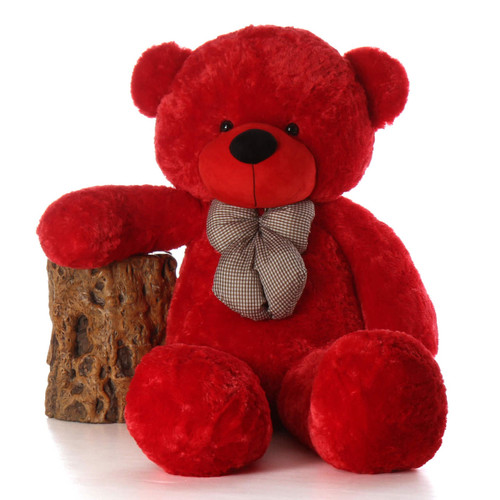 5ft Life Size Teddy Bear Bitsy Cuddles Rare True Red Color