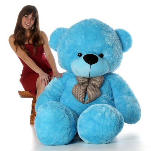 6ft Life Size Teddy Bear Happy Cuddles soft beautiful light blue fur