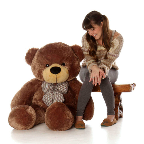 4ft Life Size Teddy Bear super soft light brown fur Happy Cuddles