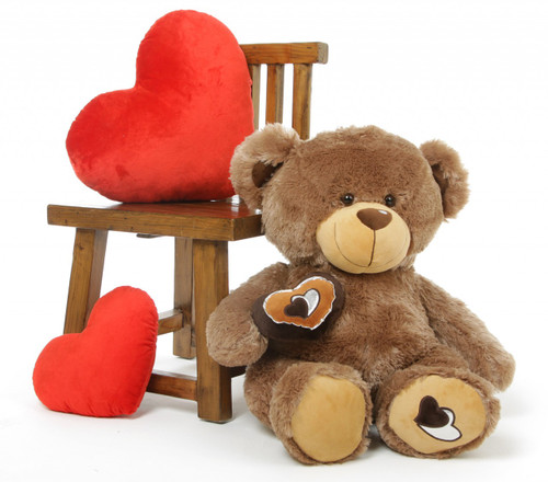 3 Foot Brown Valentine's Day Teddy Bear with Brown Heart