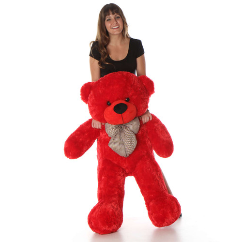 Life Size Red Teddy Bear Bitsy Cuddles 48in
