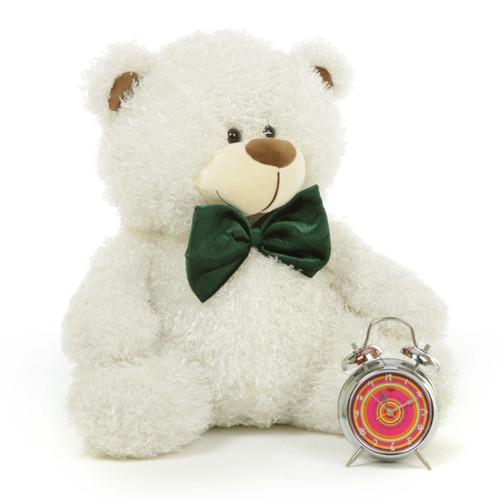 Fluffy White Cute Christmas Teddy Bear with Green Bow