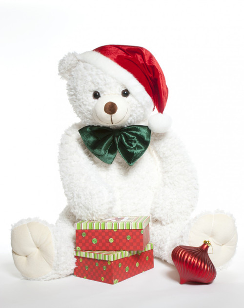 Wishing you a White Teddy Bear Christmas!  42 inch Bell Woolly Tubs bear in Santa hat.