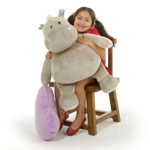 Huge Hippo Stuffed Animal with Purple Heart