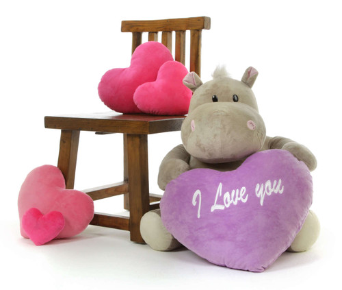 Big Hippo Stuffed Animal with I love You Pillow Heart