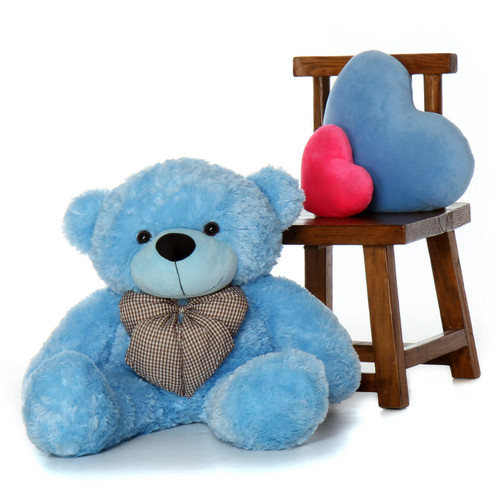 38in Huge Light Blue Teddy Bear soft and snuggly Happy Cuddles