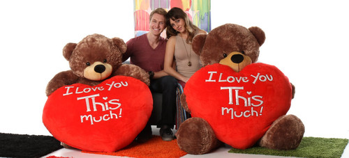 5 Foot Mocha Brown Stuffed Animal Teddy Bear with I Love You This Much Heart - Valentine's Day Gift