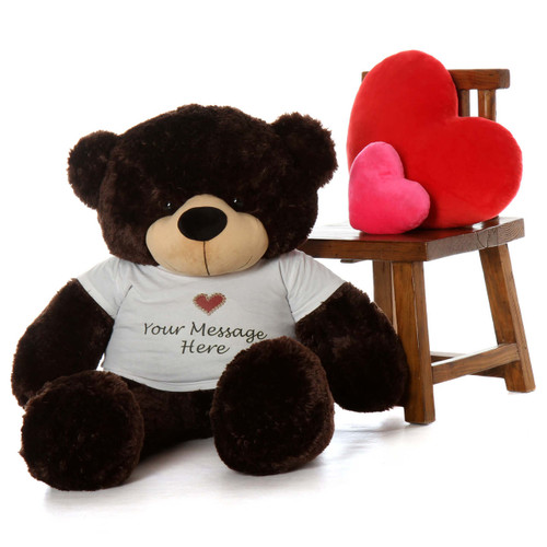 big huggable personalized teddy bear like Brownie Cuddles 48 inch