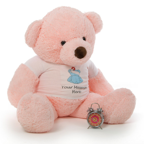 4 ft. Giant PinkTeddy bear with your personalized 'Feel Better' message