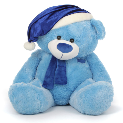 Teddy Bear with Blue Santa Hat