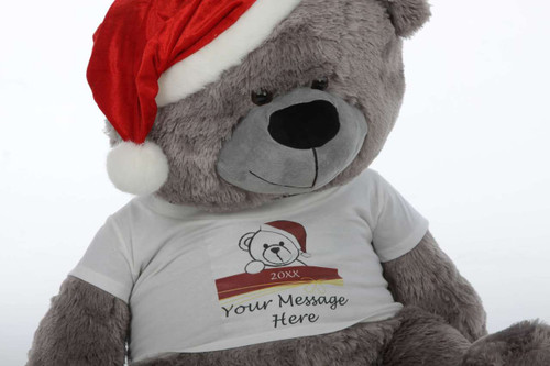 Silvery-grey Personalized Christmas Teddy Bear in red Santa hat, 35in Diamond Shags