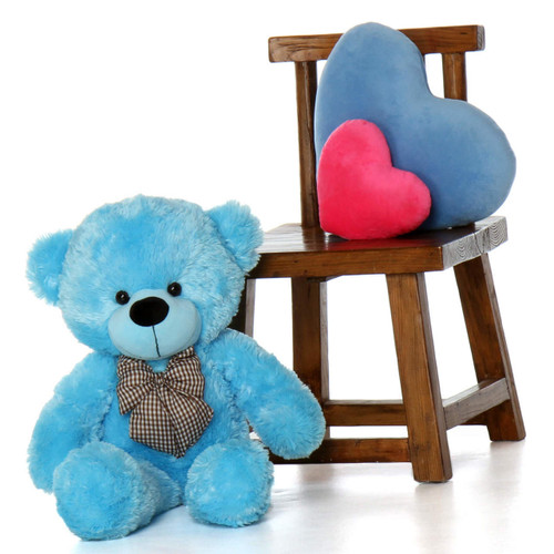Happy Cuddles sky blue teddy bear 30in