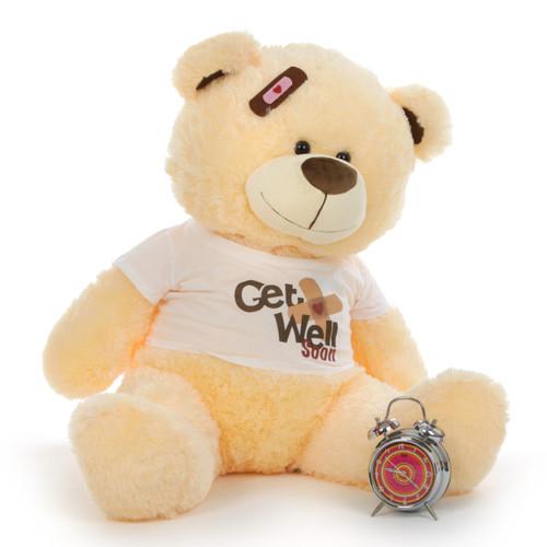 """35"""" Get Well Soon Vanilla Teddy Bear"""