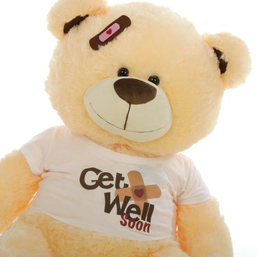 """35"""" Get Well Soon Teddy Bear, Vanilla (Close Up)"""
