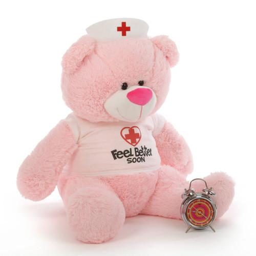 35in Nurse Lulu Shags, pink teddy bear (Side View)