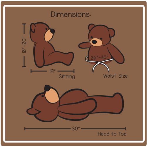 Cuddles 30in Dimensions