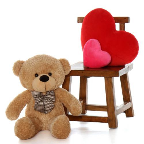 Oversized Amber Brown Teddy Bear Shaggy Cuddles 30in
