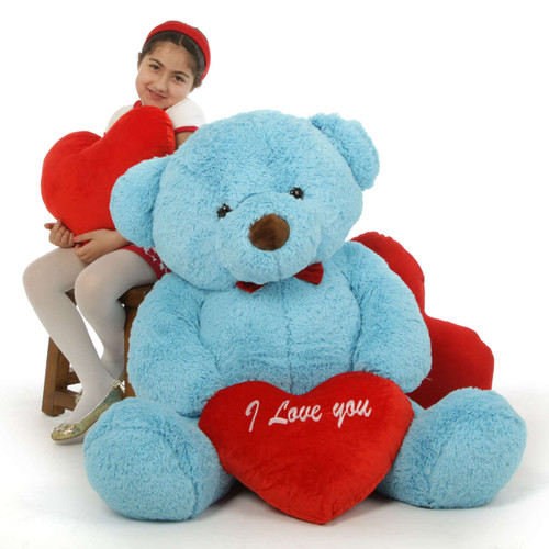 """48in Smiley Chubs Teddy Bear for Valentine's Day with big """"I Love You"""" heart"""