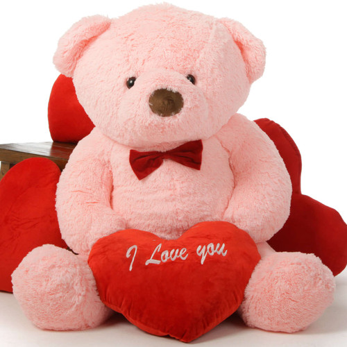 """48in Gigi Chubs Teddy Bear for Valentine's Day with big """"I Love You"""" heart"""