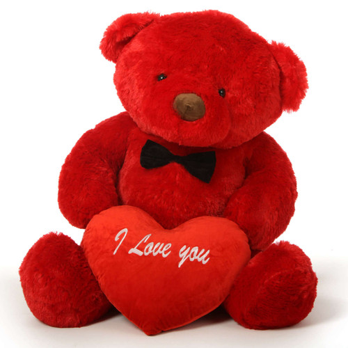 """48in Riley Chubs Teddy Bear for Valentine's Day with big """"I Love You"""" heart"""