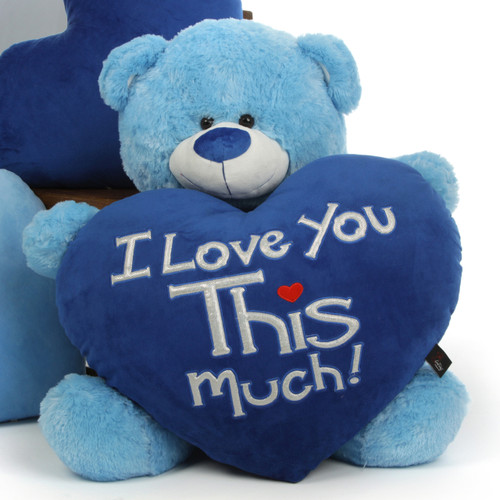 """Marty Shags with a huge """"I Love You This Much!"""" royal blue plush heart – 35in"""