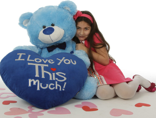"""Marty Shags with a huge """"I Love You This Much!"""" royal blue plush heart – 48in (Close Up)"""