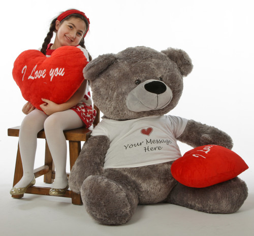 """Diamond Shags Valentine's Day Teddy Bear with Personalized T-Shirt and red """"I love you"""" heart pillow –  52in"""